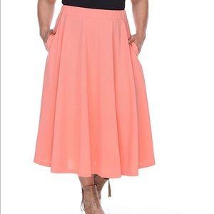 Women's Plus Coral  Flare Midi Skirt
